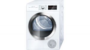 "800 Series 24"" compact condensation dryer, WTG86402UC, white/chrome"